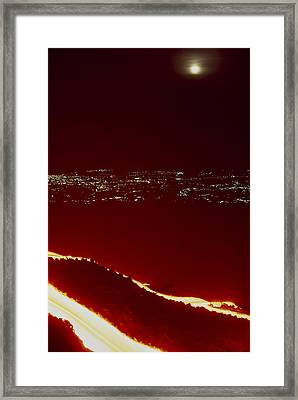 Lava Flow At Night Framed Print by Dr Juerg Alean