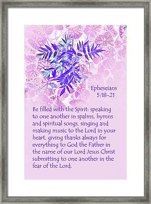 Lavender Leaves Eph. 5v10-11 Framed Print by Linda Phelps