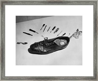 Law Enforcement Photo Of A Shoe Framed Print by Everett
