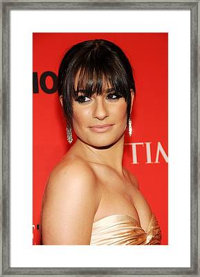Lea Michele At Arrivals For Time 100 Framed Print by Everett