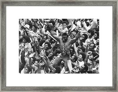 Leaping At Lord's Framed Print by Leonard Burt