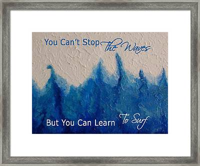 Learning To Surf Framed Print by The Art With A Heart By Charlotte Phillips