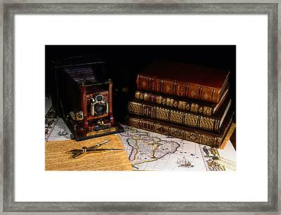 Leather Bound Books, An Old Camera Framed Print by Todd Gipstein