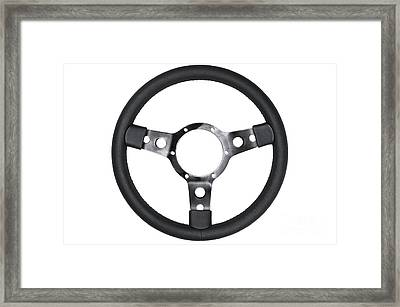 Leather Steering Wheel Isolated Framed Print by Richard Thomas