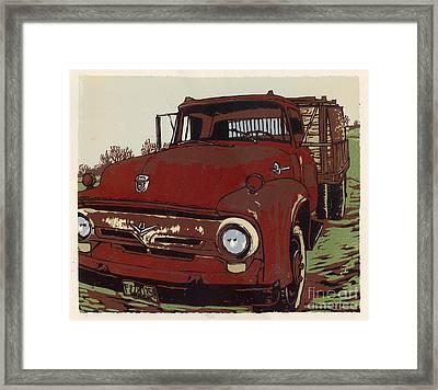 Leeser's Truck - Linocut Print Framed Print by Annie Laurie