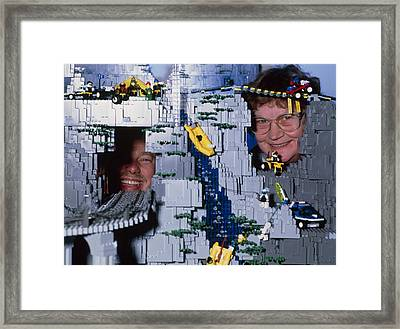 Lego Model And And Its Constructors Framed Print by Volker Steger