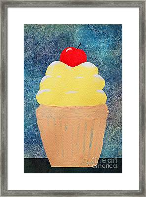 Lemon Cupcake With A Cherry On Top Framed Print by Andee Design