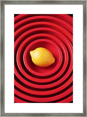 Lemon In Red Bowls Framed Print by Garry Gay