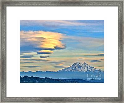 Lenticular Cloud And Mount Rainier Framed Print by Sean Griffin