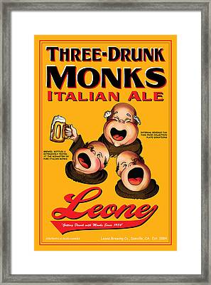 Leone Three Drunk Monks Framed Print by John OBrien