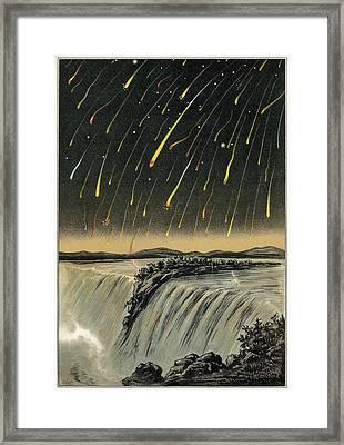 Leonid Meteor Shower Of 1833, Artwork Framed Print by Detlev Van Ravenswaay