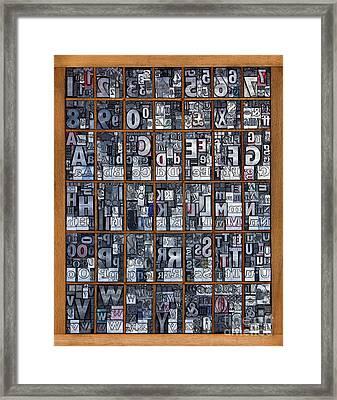 Letterpress Alphabet Framed Print by Richard Thomas