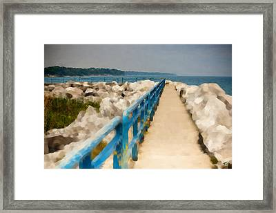 Lexington Harbor Boardwalk Framed Print by Paul Bartoszek