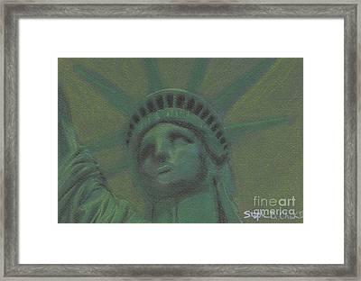 Liberty In Green Framed Print by Stephen Cheek II