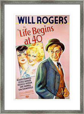 Life Begins At Forty, Will Rogers, 1935 Framed Print by Everett