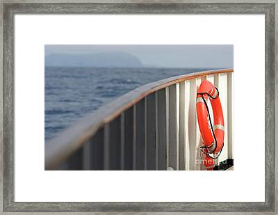 Life Belt On Deck Framed Print by Sami Sarkis