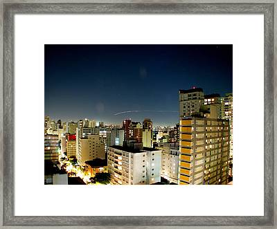 Light Trail Framed Print by Rodrigo Ferroni