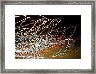 Light Trails At Night Framed Print by Frederick Bass