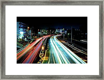 Light Trails Framed Print by Photo by ball1515