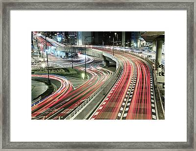 Light Trails Framed Print by Spiraldelight