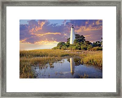 Lighthous Reflection 1 Framed Print by Marty Koch