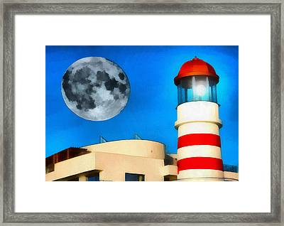 Lighthouse And Moon Framed Print by Odon Czintos