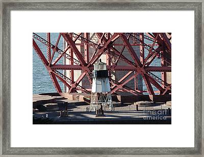 Lighthouse Atop Fort Point Next To The San Francisco Golden Gate Bridge - 5d19001 Framed Print by Wingsdomain Art and Photography