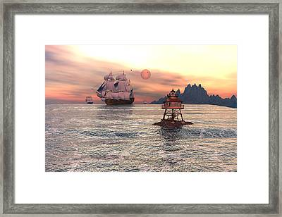 Lighthouse Rock Framed Print by Claude McCoy