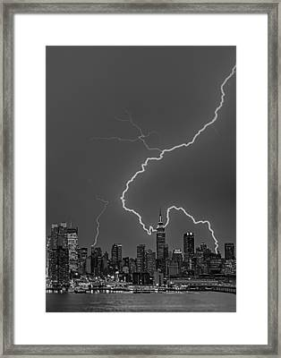 Lightning Bolts Over New York City Bw Framed Print by Susan Candelario