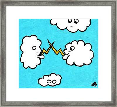 Lightning Fight Framed Print by Jera Sky