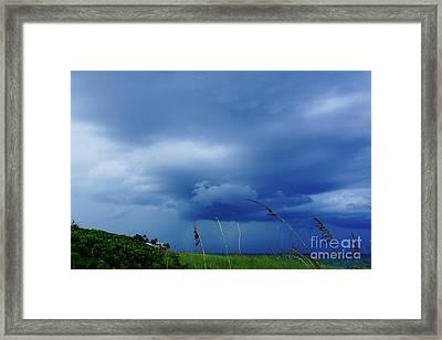 Lightning Off Shore Framed Print by Lynda Dawson-Youngclaus