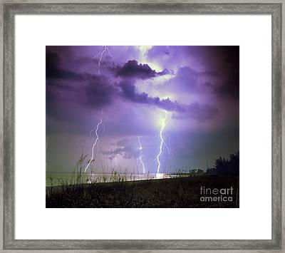 Lightning Over Florida Framed Print by Keith Kapple