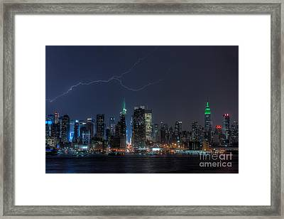 Lightning Over New York City Ix Framed Print by Clarence Holmes