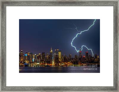 Lightning Over New York City Vii Framed Print by Clarence Holmes