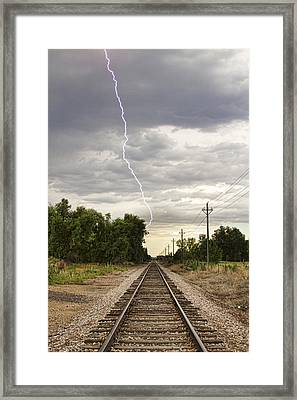 Lightning Striking By The Train Tracks Framed Print by James BO  Insogna