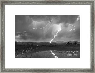 Lightning Striking Longs Peak Foothills 2bw Framed Print by James BO  Insogna