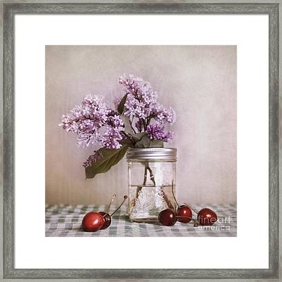 Lilac And Cherries Framed Print by Priska Wettstein