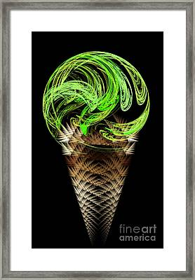 Lime Ice Cream Cone Framed Print by Andee Design