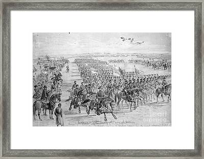 Lincoln Reviewing Army Framed Print by Granger