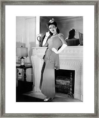 Linda Darnell In Sequined Evening Gown Framed Print by Everett