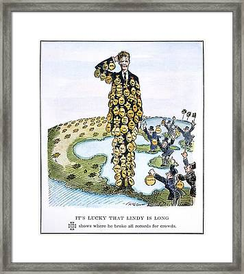 Lindbergh Cartoon Framed Print by Granger