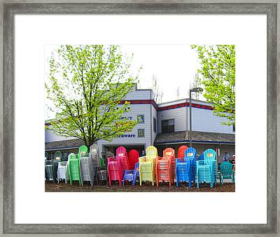 Line Of Rainbow Chairs Framed Print by Kym Backland