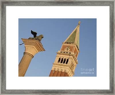 Lion And Campanile. Venice Framed Print by Bernard Jaubert