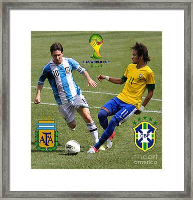 Lionel Messi And Neymar Clash Of The Titans Fifa World Cup 2014 And Team Logos Framed Print by Lee Dos Santos