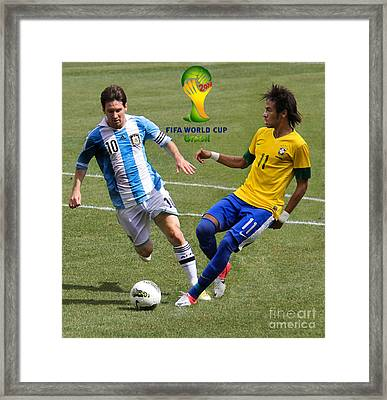 Lionel Messi And Neymar Clash Of The Titans Fifa World Cup 2014 II Framed Print by Lee Dos Santos