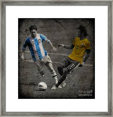 Lionel Messi And Neymar Clash Of The Titans Vii Framed Print by Lee Dos Santos