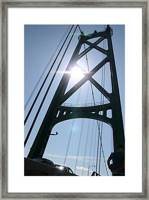 Lions Gate Bridge Vancouver Bc Framed Print by JM Photography