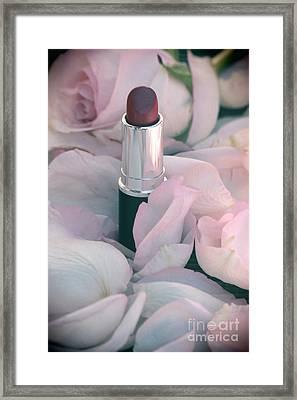 Lipstick And Roses Framed Print by Sophie Vigneault