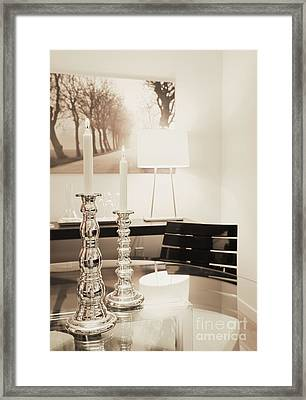 Lit Candles In Silver Candlesticks Framed Print by Andersen Ross