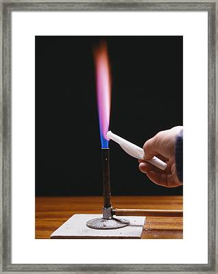 Lithium Flame Test Framed Print by Andrew Lambert Photography
